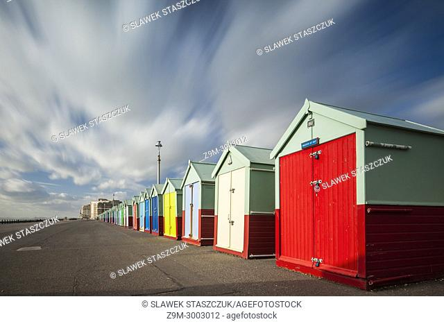 Beach huts on the seafront of Brighton and Hove, England