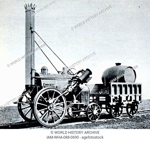 Photograph of George Stephenson's famous steam locomotive rocket. Dated 19th Century