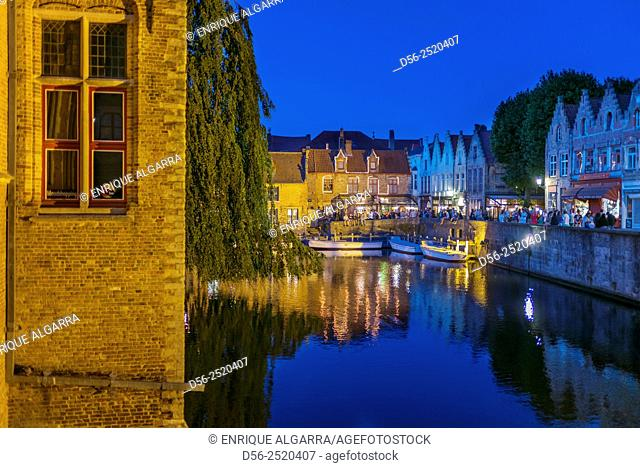 Bruges at night, West Flanders, Belgium
