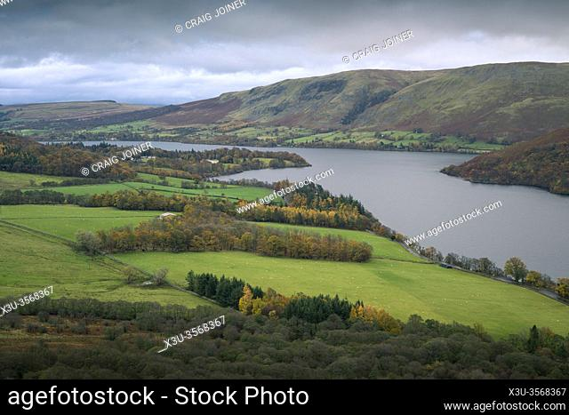 Autumnal view from Gowbarrow Fell over Ullswater lake with Barton Fell beyond in the Lake District National Park, Cumbria, England