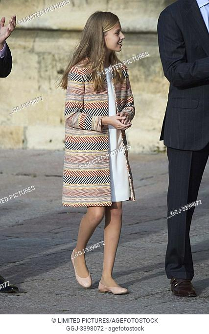 Crown Princess Leonor arrived to Alfonso II Square (Cathedral's Square) for Princesa de Asturias Awards 2019 on October 17, 2019 in Oviedo, Spain