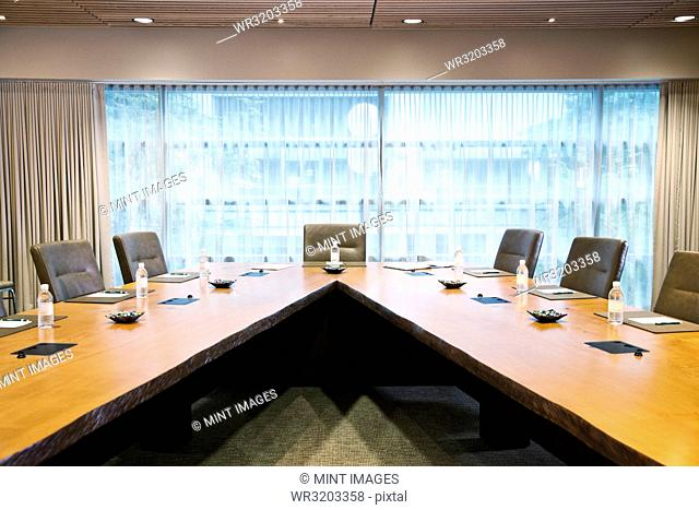 A unique conference table set up for a meeting