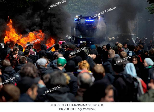 Use of water cannon against anti-Nazi protesters, the left-wing protesters tried to stop a rally of neo-Nazis with burning barricades, amongst others