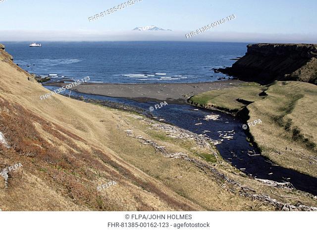 View of river entering sea, beach and coastline of volcanic island, Onekotan Island, Kuril Islands, Sea of Okhotsk, Sakhalin Oblast, Russian Far East, Russia