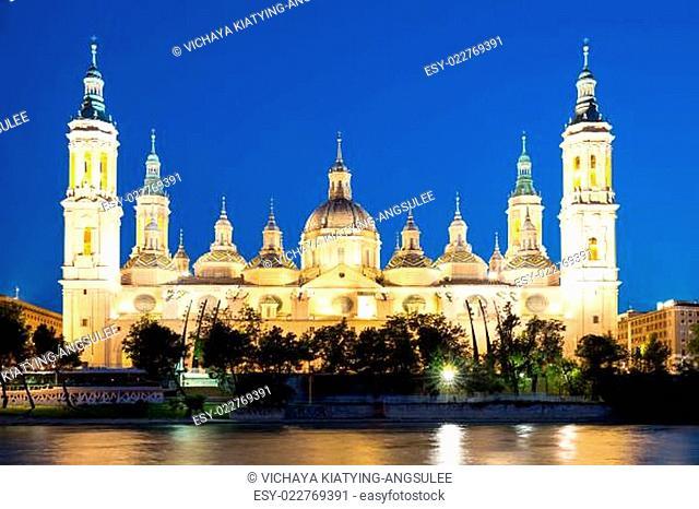 Zaragoza Basilica Cathedral at dusk