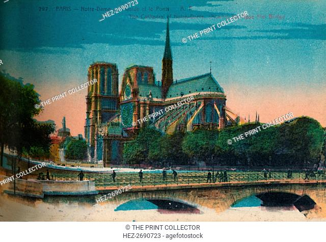 Notre-Dame Cathedral showing the Apse and the Pont Notre-Dame, Paris, c1920. Artist: Unknown