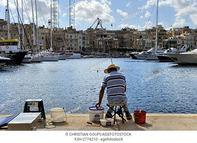 angler at Birgu's Marina (Vittoriosa), Three Cities, Malta, Southern Europe