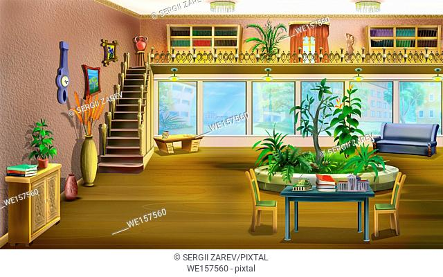 The interior of a large room with huge windows and stairs to the second floor. Digital Painting Background, Illustration in cartoon style character