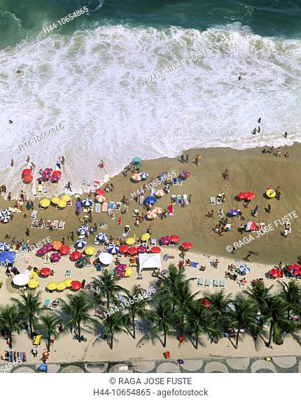 10654865, bathing, beach, surf, waves, Brazil, South America, Copacabana, holidays, sea, palms, Rio de Janeiro, screens, beach
