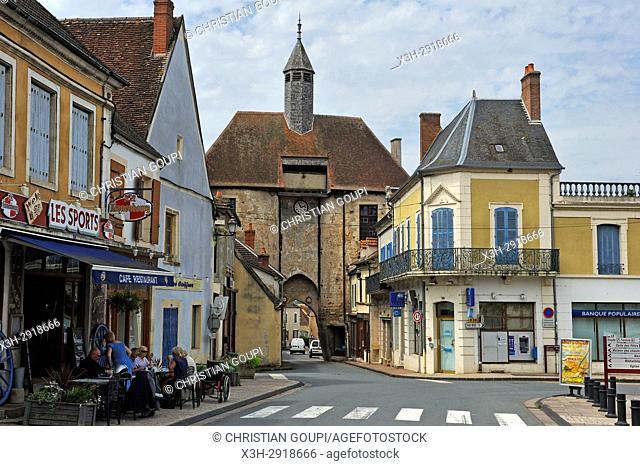 Porte de l'horloge (clock's gate), Ainay-le-Chateau, Allier department, Auvergne-Rhone-Alpes region, France, Europe