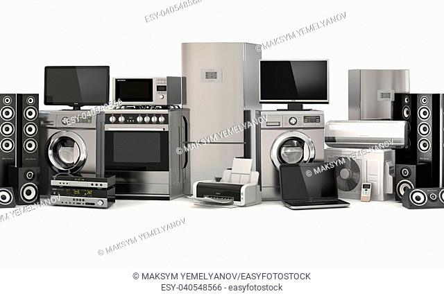 Home appliances. Seamless pattern. Cooker, tv cinema, refrigerator air conditioner microwave, laptop and washing machine. 3d