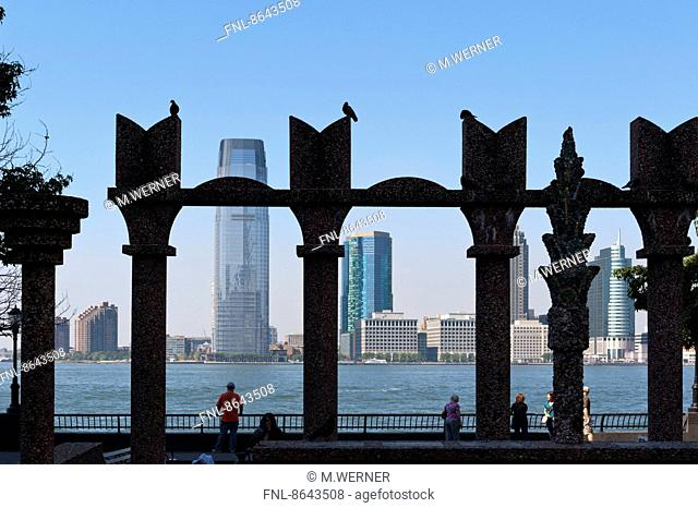 Hudson River with Skyline of Jersey City seen from Manhattan, New York, USA