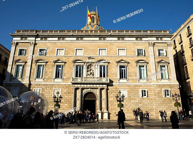 Palace of the Government of Catalonia (Palau de la Generalitat de Catalunya) at Sant Jaume Square, Gothic Quarter, Barcelona, Catalonia, Spain