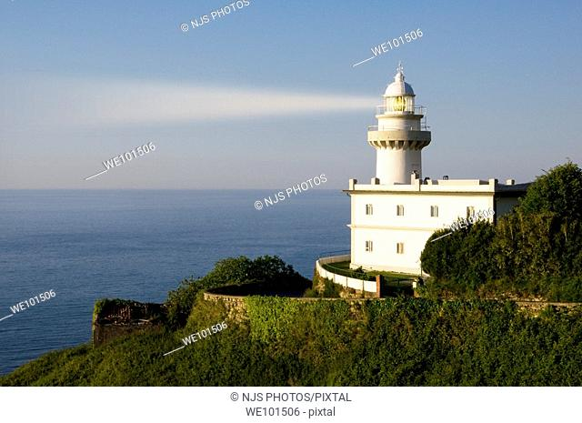 Lighthouse of Igeldo Mountain at dusk, Donostia-San Sebastian, Guipuzcoa, Basque Country, Spain