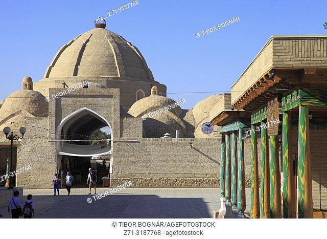 Uzbekistan; Bukhara; Toki Zaragon, bazaar, dome,