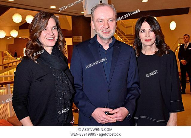 Katarina Witt, Ferdinand von Schirach, Iris Berben at the book premiere Strafe by Ferdinand von Schirach at Kammermusiksaal Philharmonie