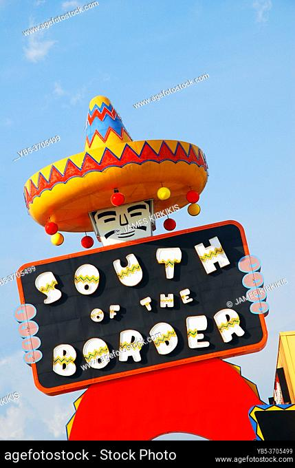 A large Mexican caricature welcomes guests to the South of the Border roadside tourist attraction in Hamer South Carolina