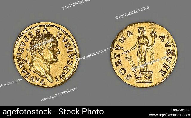 Aureus (Coin) Portraying Emperor Vespasian - AD 75/79, issued by Vespasian - Roman, minted in Rome - Artist: Ancient Roman, Origin: Rome, Date: 1 AD–12 AD