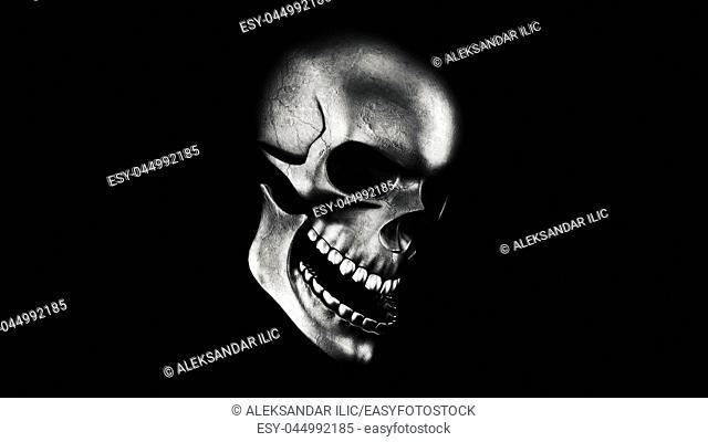 Human Skull On Black Background 3D Rendering. Halloween Concept