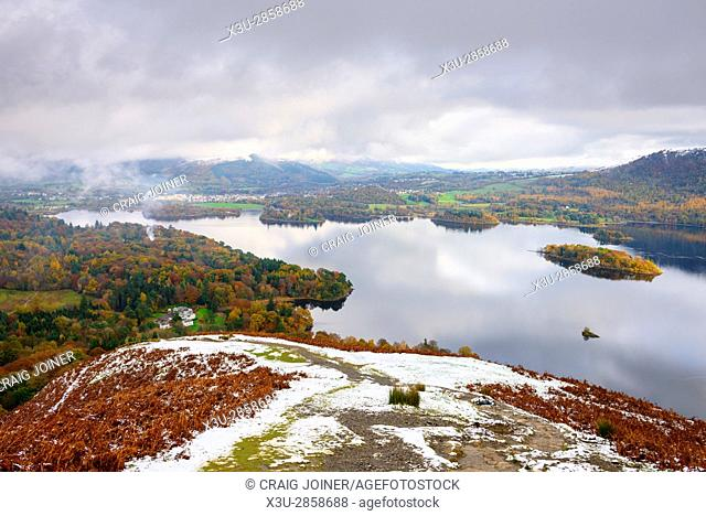 Derwent Water and Keswick beyond viewed from Cat Bells in the English Lake District National Park, Cumbria, England