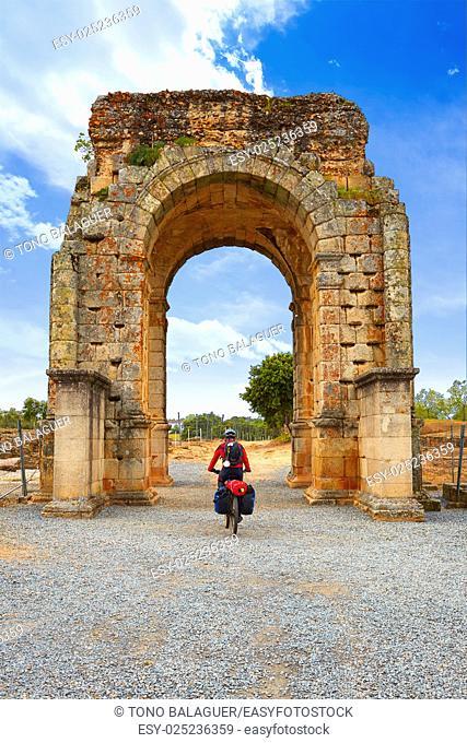 Arch roman of Caparra in Spain Extremadura biker pilgrim by the Via de la Plata way