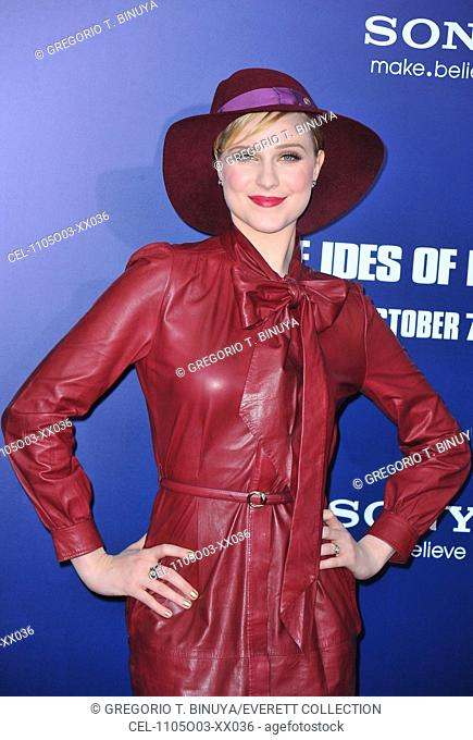 Evan Rachel Wood (wearing a Gucci dress) at arrivals for THE IDES OF MARCH New York Premiere, The Ziegfeld Theatre, New York, NY October 5, 2011