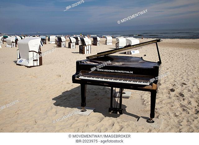 Grand piano on a beach, Usedom Music Festival, seaside resort of Ahlbeck, Usedom Island, Baltic Sea, Mecklenburg-Western Pomerania, Germany, Europe