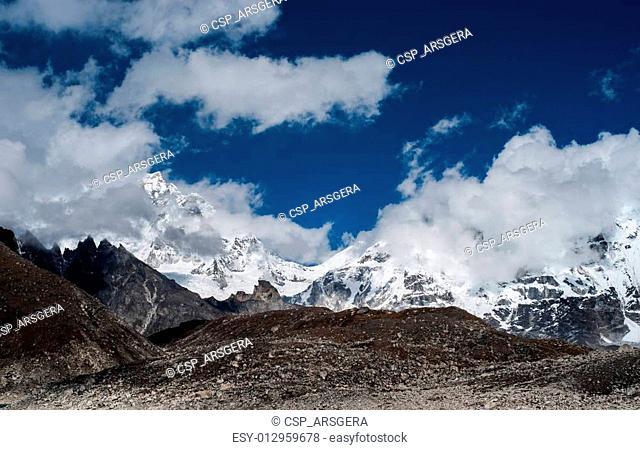 Rocks and peaks near Gokyo in Himalayas