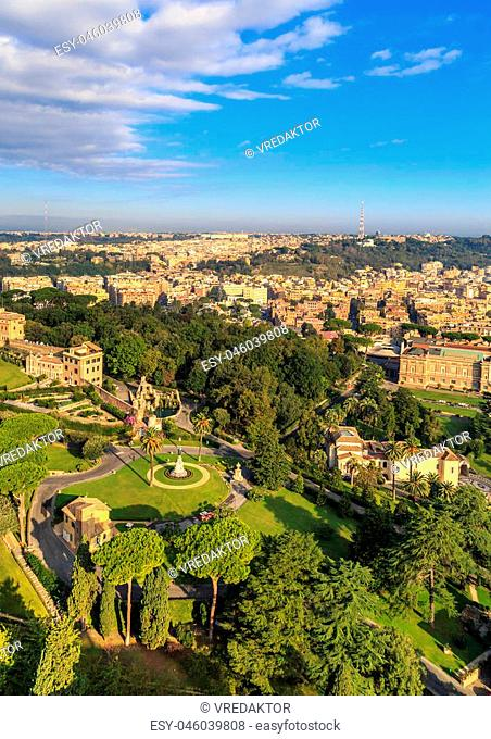View at the Vatican Gardens in Rome from the dome of St. Peter