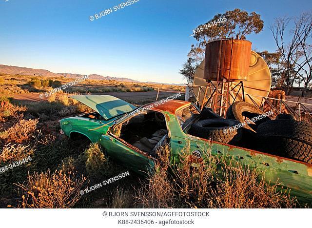 Abandoned car at outback settlement. Parachilna, Flinders Ranges, South Australia