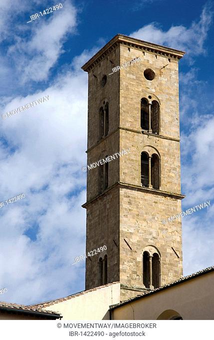Belfry, campanile of the Basilica of Santa Maria Assunta, Volterra, Tuscany, Italy, Europe