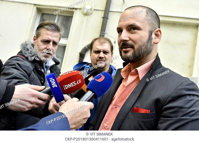 Adam Homsi (right), one of kidnapped Czechs, speaks to journalists after hearing in Prague, Czech Republic, on Tuesday, January 30, 2018
