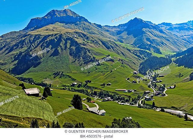 View of Schollberg, hiking area St. Antönien, Prättigau, Canton of Grisons, Switzerland