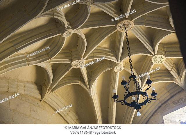 Vault of the church, indoor view. Traspeña de la Peña, Palencia province, Castilla Leon, Spain