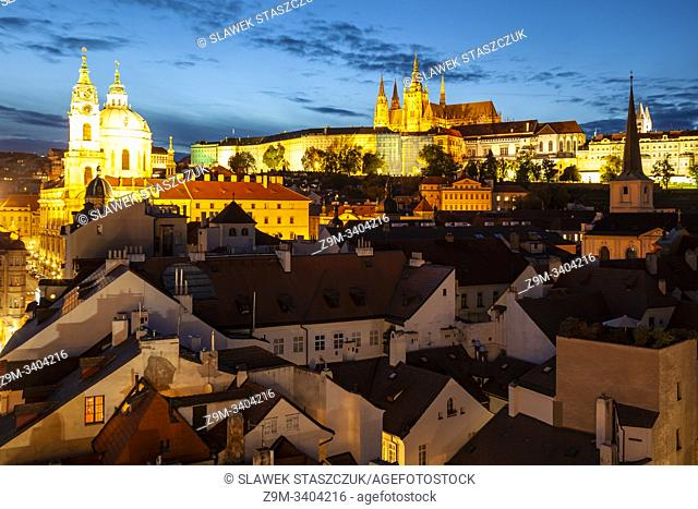 Night falls in Mala Strana, Prague