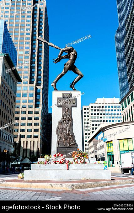 Jersey City, United States - September 19, 2019: The Katyn Memorial, which is dedicated to the victims of the Katyn massacre in 1940
