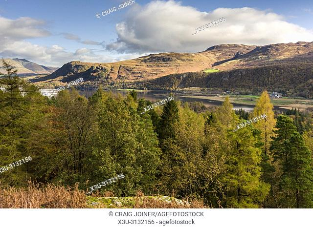 View over Manesty Park and Derwent Water from the eastern slope of Catbells in the Lake District National Park, Cumbria, England