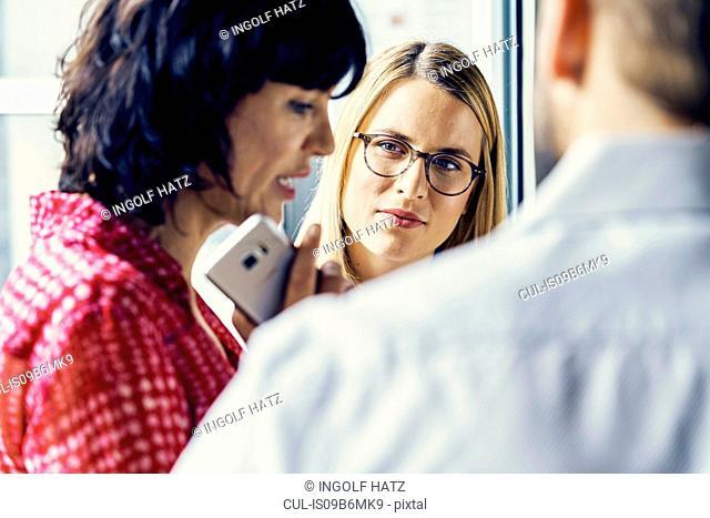 Businesswomen and businessman having meeting