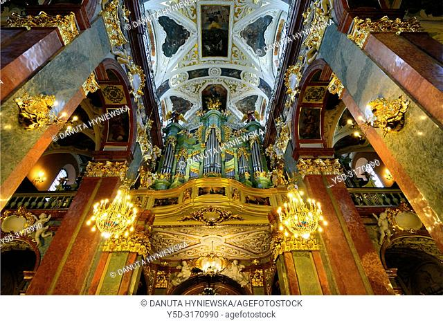Ceiling in main nave of Basilica, most famous Polish pilgrimage site - Jasna Gora, sanctuary of Our Lady of Czestochowa - Queen of Poland and the Pauline...
