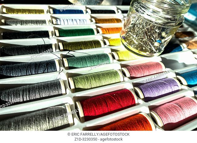 sewing spools of coloured threads UK