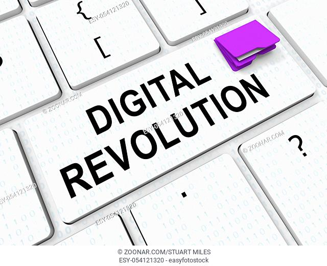 Digital Revolution Concept Futuristic Industry 3d Rendering Shows Innovation Improvement And Transition Of Network Data