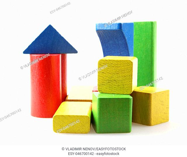 Studio Shot Of Colorful Toy Blocks Against White Background