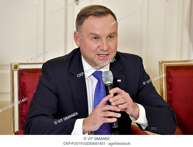 Polish President Andrzej Duda speaks at a news conference after plenary session of Visegrad Group (V4; Czech Republic, Slovakia, Poland, Hungary) countries