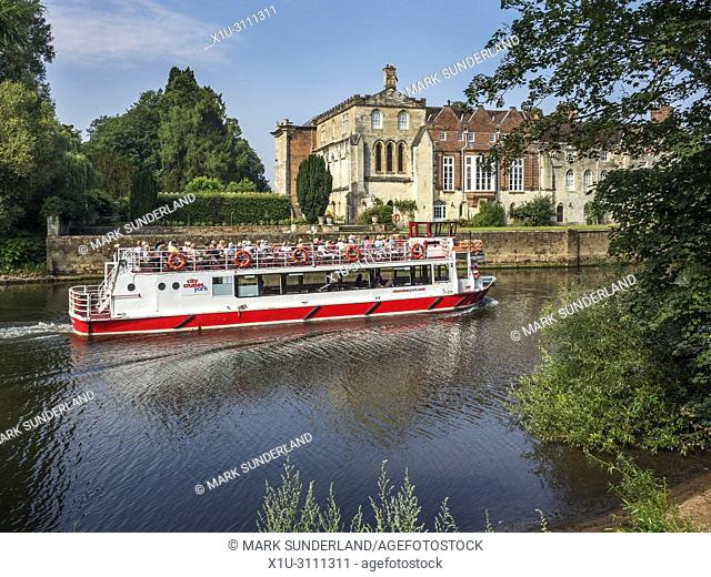 City cruise boat at Bishopthorpe Palace residence of the Archbishop of York City of York Yorkshire England