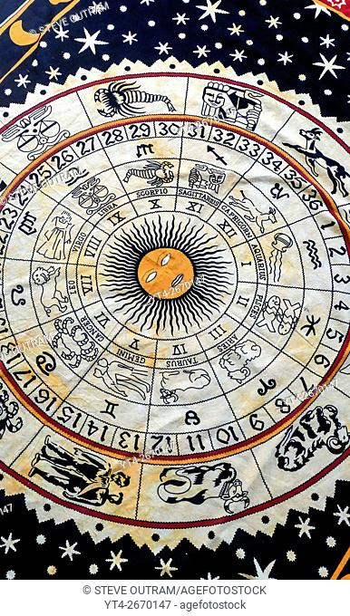 Ethnic Indian Astrology Tapestry