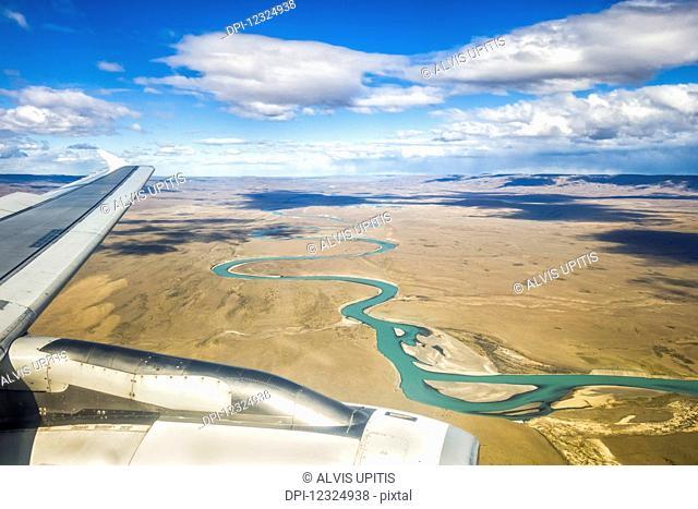 Aerial view of China River as plane lands in El Calafate, Argentinian Patagonia; El Calafate, Santa Cruz Province, Argentina