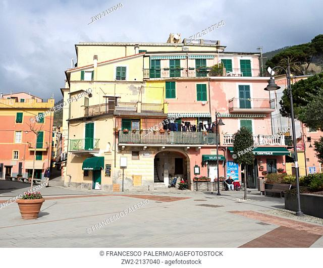 Characteristic houses on ligurian coast named five lands in winter time. Monterosso, Liguria. Italy