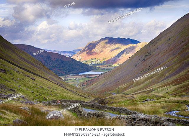 View of upland landscape and lake, viewed from Kirkstone Pass, Brothers Water, Lake District, Cumbria, England, October