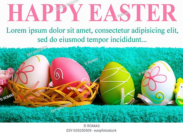 Easter decoration. Background with eggs and Turkish towel isolated on white with space for text
