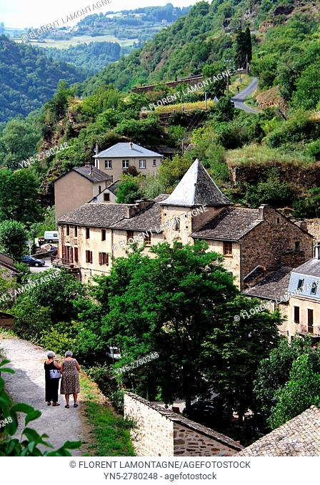 View on the village of Brousse le Chateau and the Tarn's valley, Aveyron, Occitanie, Languedoc, Roussillon, France